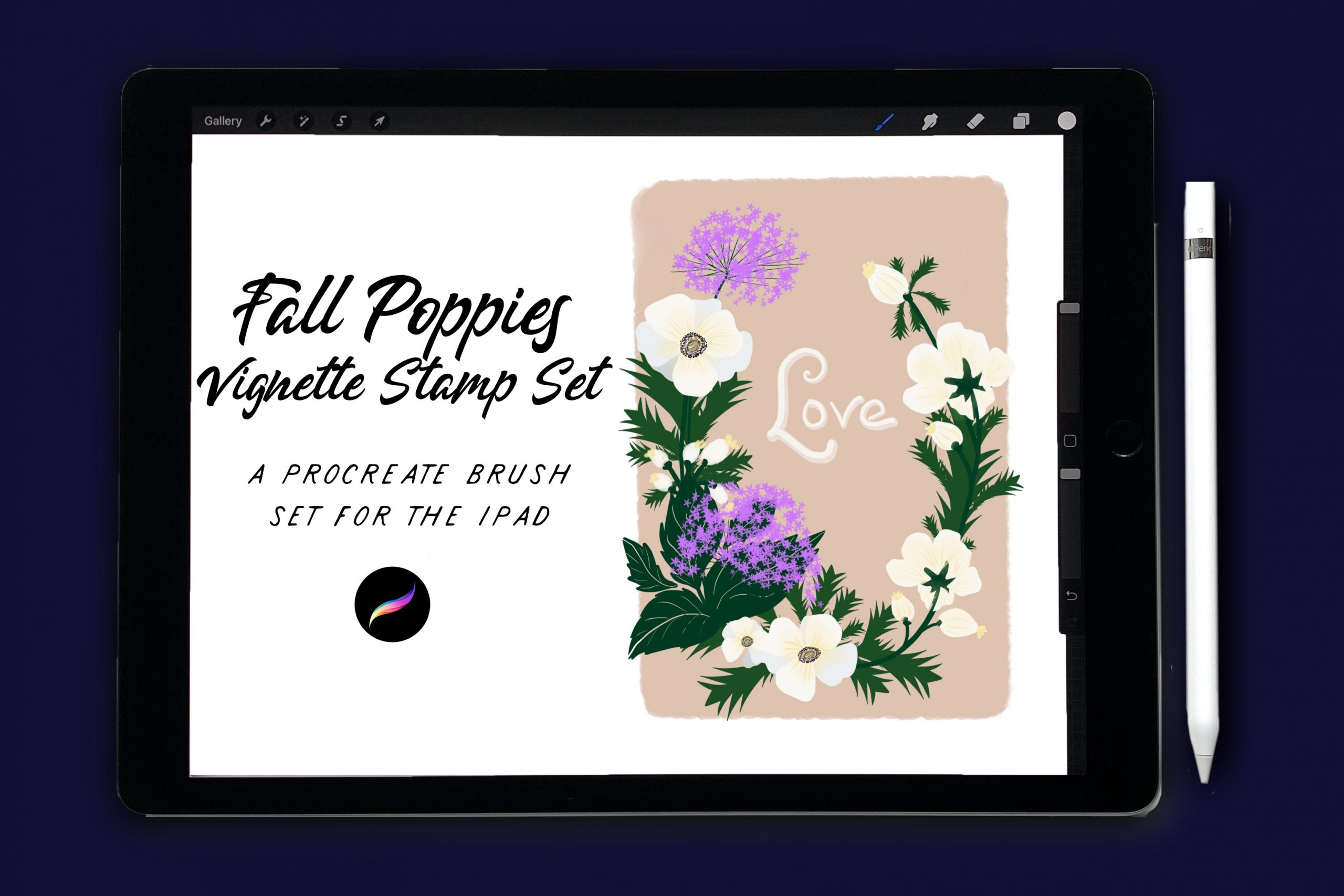 Fall Poppies Vignette Stamps