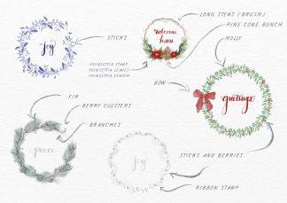 Festive Winter Wreath Brushes